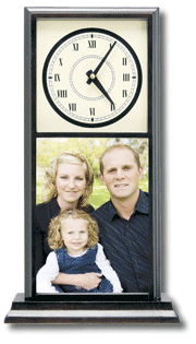Tall Mantle Clock with family picture