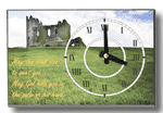 Rectangular Clock, Clock Offset with picture Irish Castle