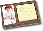 Sticky Note Holder with Picture of Young Baseball Player